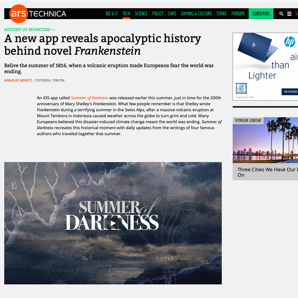 Ars Technica: A new app reveals apocalyptic history behind novel Frankenstein