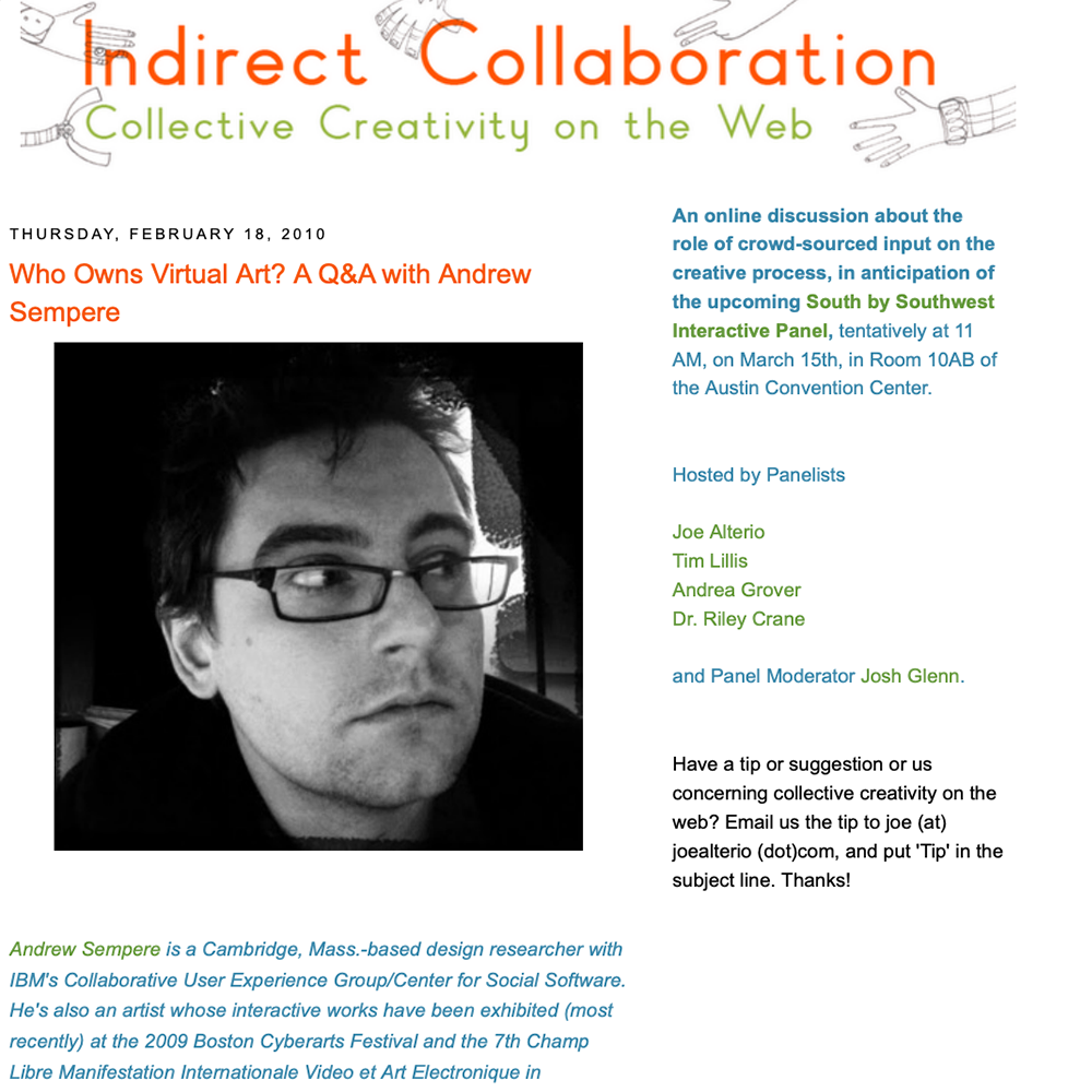 Indirect Collaboration: Collective Creativity on the Web (Interview)